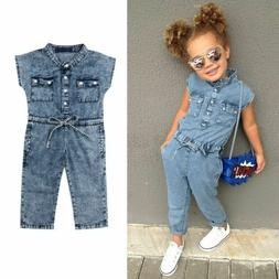 Fashion Toddler Kids Baby Girls Denim Romper Bodysuit Jumpsu