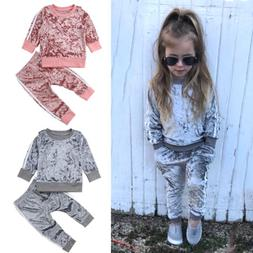 Autumn Toddler Kids Baby Girl Velvet Top Sweatshirt Pants Ou