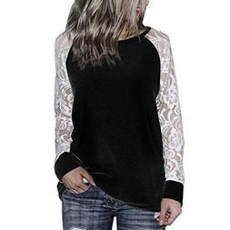 fashion womens casual lace long sleeve pullover