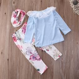 Floral Baby Girl Clothes Set Long Sleeve Lace Pant Casual Fl