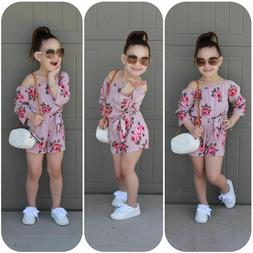 Floral Baby Girls Romper Jumpsuit Toddler Kids Summer Outfit