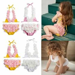 Floral Kids Swimsuits Summer Beachwear Baby Girls Two Piece