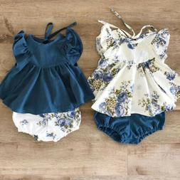 Floral Newborn Baby Girl 2pcs Summer Clothes Tops Dress Shor
