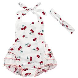 floral pom rompers cherry baby girls swimsuits