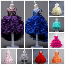 Flower Girl Princess Dress Kid Baby Birthday Party Wedding P