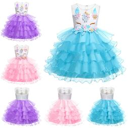 Flower Girl Princess Unicorn Tutu Dress Baby Kid Wedding Par
