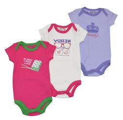 Luvable Friends Baby Girls Statement 3-Pack Bodysuits