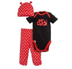 Gerber Girl 3-Piece Black/Red Ladybug Set; Onesie, Cap & Pan