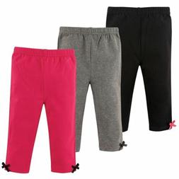 Hudson Baby Girl Baby Leggings with Ankle Bows, 3-Pack, Pink