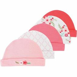 Luvable Friends Girl Caps, 5-Pack, Pink Floral