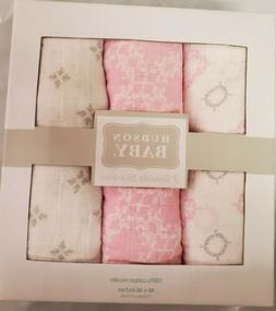 Hudson Baby Girl Muslin Swaddle Blankets, 3-Pack, 100% Cotto