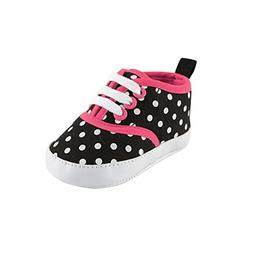 Luvable Friends Girl's Print Canvas Sneaker , Black with Pol