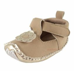Girls brown tan gold baby shoes 0-6-12-18 months NWT crib 0
