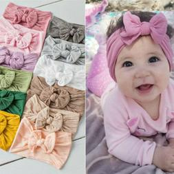 Girls Baby Toddler Turban Solid Headband Hair Band Bow Acces