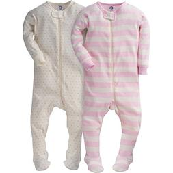 Gerber Girls' 2 Pack Footed Sleeper, Tiny hearts/Stripes, 12