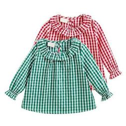 Girls O-Neck Plaid Clothes For Girls Long Sleeve Warm Cotton