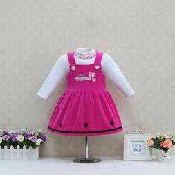 GIRLS PINK PINAFORE SUSPENDER BRACES DRESS-BLOUSE TOP-2 PIEC