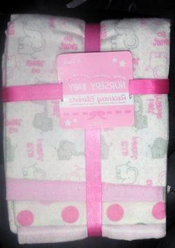 NURSERY BABY Girls Receiving Blankets 4 In Pack 100% Cotton