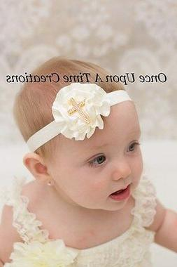 Gold Ivory Satin Flower Newborn Headband Baby Girl Hairbow B