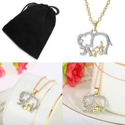 Gold Tone Elephant W Baby Lucky Crystal Animal Necklace Gift