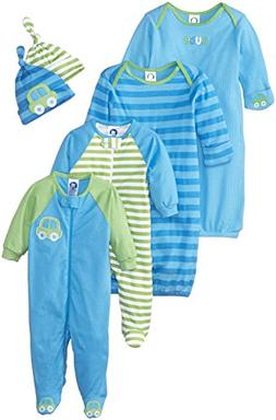 Gerber Baby Boys 6 Piece Gown, Cap , and Sleep'n Play  Gift