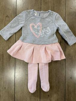 Calvin Klein Gray And Pink Baby Girl Outfit 6-9 Months