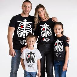 Halloween Maternity T-shirts Baby Girl Matching Family Skele