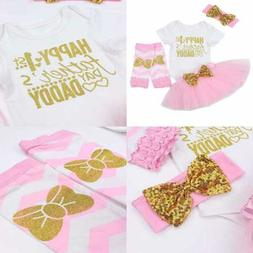 Happy 1St Fathers Day Baby Girl Outfit Letter Print Rompers+