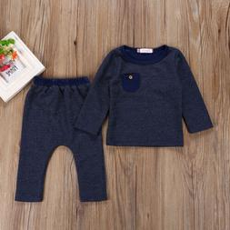 Infant 2PCS Baby Boy Girl Long Sleeve Tops+Pant Hats Outfits