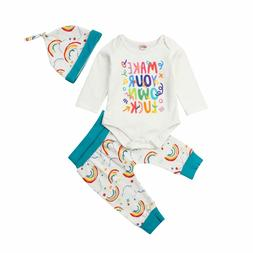 Infant Baby Boy Girl Tops Jumpsuit Rainbow Pants Hat Clothes