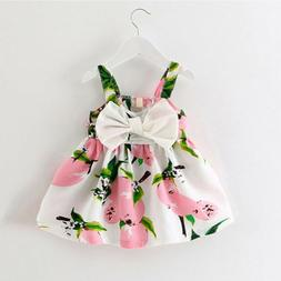 Infant baby clothes design sleeveless print bow dress 2018 s