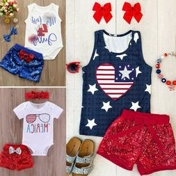 Infant Baby Girl 4th of July Summer Tops T Shirt Sequins Sho