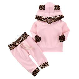 Infant Baby Girl Clothes Pink Coat Hoodie Tops Sweatshirt Pa