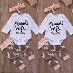 Infant Baby Girl Clothes Set Tops Pants Bodysuit Outfits Hea