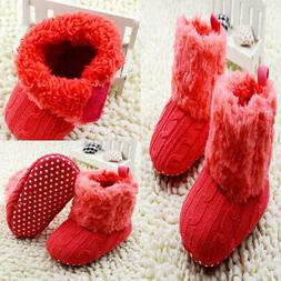 Infant Baby Girl Cotton Knitted Fleece Boots Toddler Warm Fu