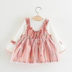 Infant Baby Girl Dress Clothes Autumn Long Sleeve Princess V