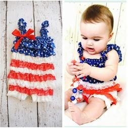 Infant Baby Girl Kids Ruffle Lace 4th Of July Sleeveless Rom
