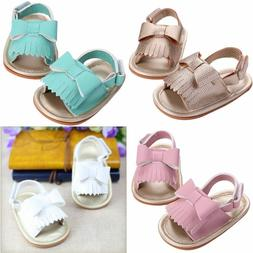 Infant Baby Girl PU Leather Bow Tassel Shoes Kids Girls Tass