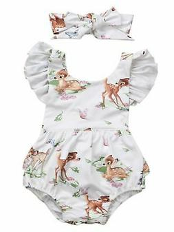 Infant Baby Girl Ruffled Cap Sleeve Sunsuit Romper with Self