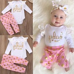 Infant Baby Girls Clothes Set Romper Long Sleeve Cotton Pant