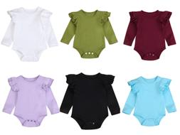 Infant Baby Girls Solid Ruffles Cotton Romper Long Sleeve Ou