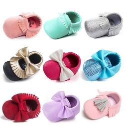 Infant Baby Moccasin Bowknot Crib Shoes Kids Girl Soft Sole