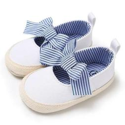 Infant Crib Shoe White Canvas Mary-Jane Casual Slip On Baby