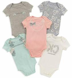 Calvin Klein Infant Girls 5pc Pink & Aqua Bodysuit Set Size