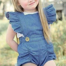 Infant Girls One Piece Short Sleeve Ripped Demin Jeans Ruffl