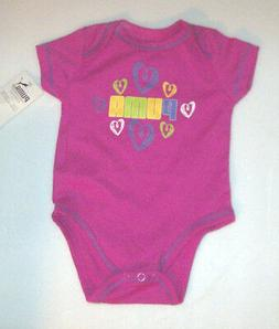 Puma Infant Girls Pink Bodysuit Hearts and Logo Size 0-3 Mon