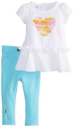 Calvin Klein Infant Girls White Top 2pc Jegging Set Size 0/3
