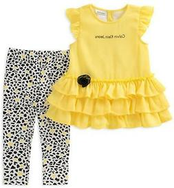 Calvin Klein Infant Girls Yellow Tunic & Legging Set Size 3/