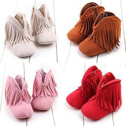 Infant Newborn Baby Girl Soft Sole Boots Toddler Tassel Mocc