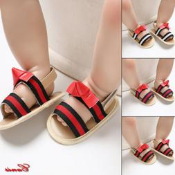 Infant Newborn Baby Girl Summer Shoes Soft Sole Striped Prin